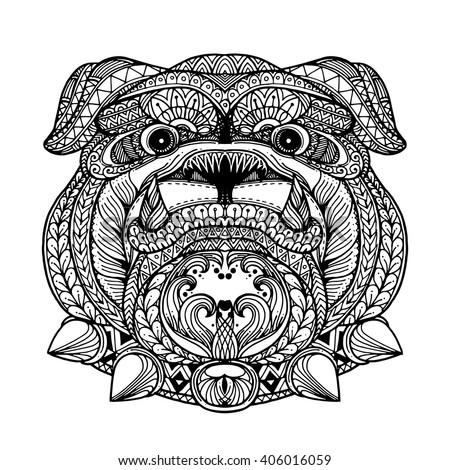 zentangle stylized bulldog face