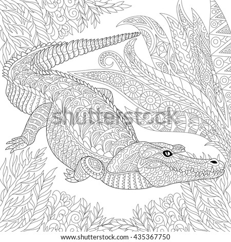 Zentangle stylized cartoon crocodile (alligator) among jungle foliage. Hand drawn sketch for adult antistress coloring page, T-shirt emblem, logo, tattoo with doodle, zentangle, floral design elements