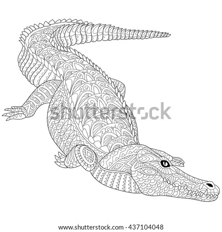 Zentangle stylized cartoon crocodile (alligator) isolated on a white. Hand drawn sketch for adult antistress coloring page, T-shirt emblem, logo, tattoo with doodle, zentangle, floral design elements.