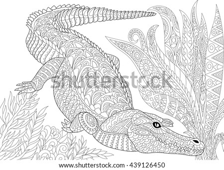 Zentangle stylized cartoon crocodile (alligator), jungle foliage. Hand drawn sketch for adult antistress coloring book page, T-shirt emblem, logo, tattoo with doodle, zentangle, floral design elements