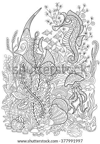 zentangle stylized cartoon fish
