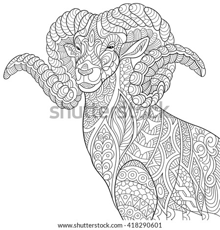 zentangle stylized cartoon goat