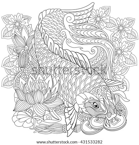 zentangle stylized cartoon koi