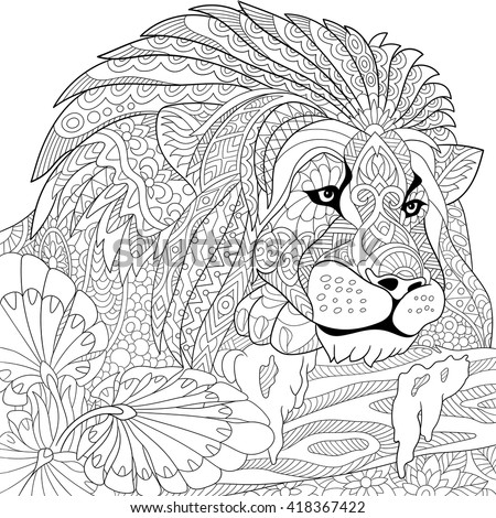 zentangle stylized cartoon lion