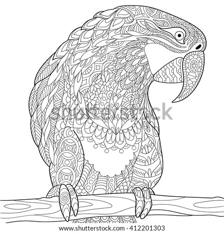 Stock Photo Zentangle stylized cartoon parrot macaw, isolated on white background. Hand drawn sketch for adult antistress coloring page, T-shirt emblem, logo, tattoo with doodle, zentangle, floral design elements