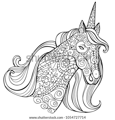 Zentangle stylized cartoon unicorn isolated on white background. Perfect for adult antistress coloring page, T shirt print, logo or tattoo with doodle, invitation, greeting card.