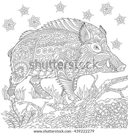 zentangle stylized cartoon wild