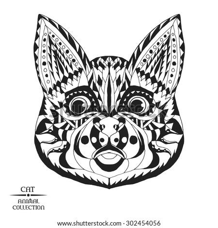 zentangle stylized cat head