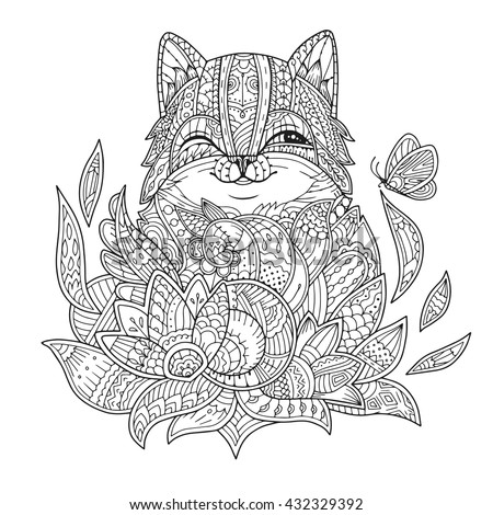 zentangle stylized cat in