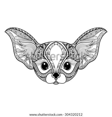zentangle stylized desert fox