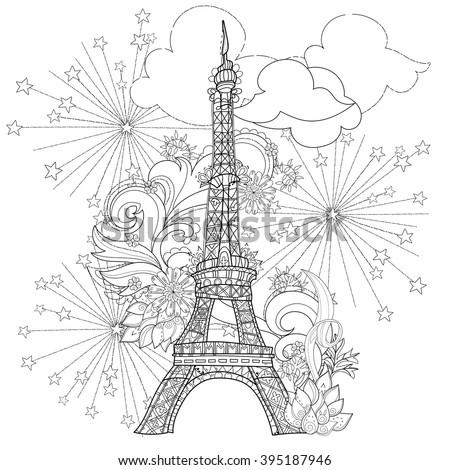 zentangle stylized eiffel tower ...
