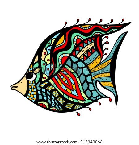zentangle stylized fish hand