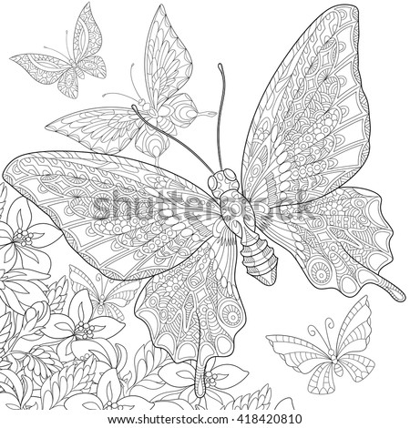 Zentangle stylized five cartoon butterflies flying around flowers. Hand drawn sketch for adult antistress coloring page, T-shirt emblem, logo or tattoo with doodle, zentangle, floral design elements.