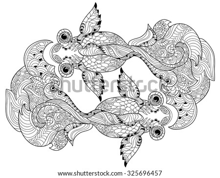Zentangle Stylized Floral China Fish Doodle Hand Drawn Vector Illustration Boho Sketch For Tattoo