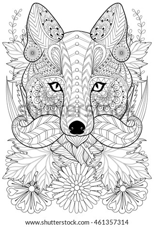 zentangle stylized fox with