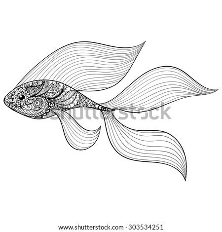 zentangle stylized gold fish