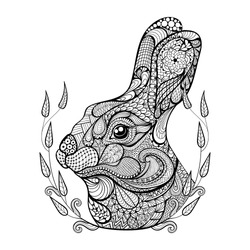 Zentangle stylized head of rabbit in wreath. Hand Drawn vintage doodle vector illustration for Easter. Sketch for tattoo or makhenda. Animal collection.