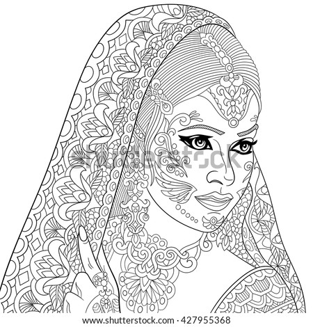 zentangle stylized indian woman