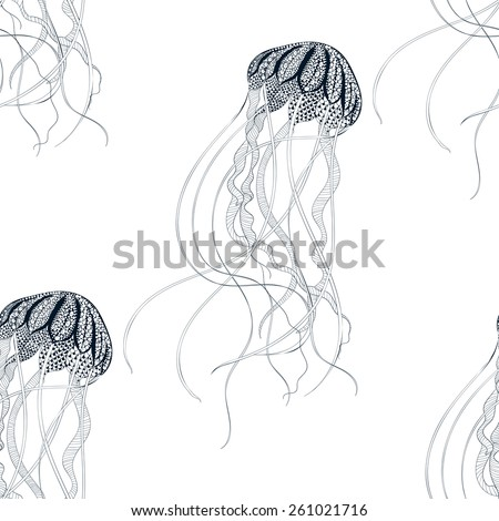 Zentangle stylized Jellyfish seamless pattern Hand Drawn vector illustration isolated on white background Sketch for tattoo or makhenda Sea collection