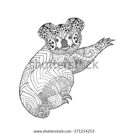 zentangle stylized koala black