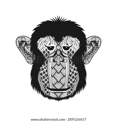 zentangle stylized monkey face