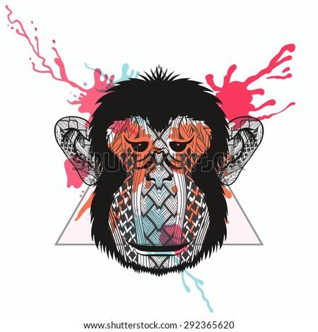 zentangle stylized monkey face