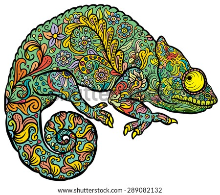 Stock Photo Zentangle stylized multi coloured Chameleon. Hand Drawn Reptile vector illustration in doodle style for tattoo or print