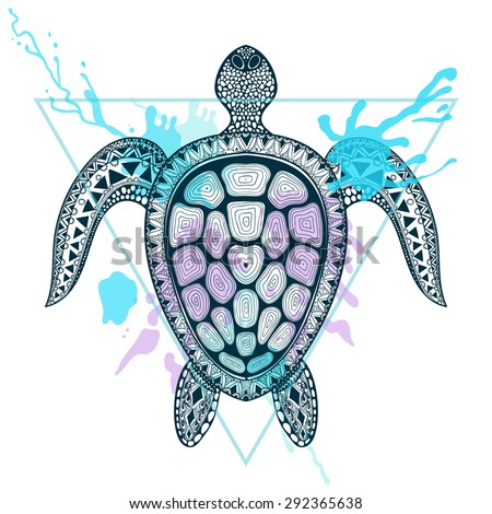 zentangle stylized ocean turtle