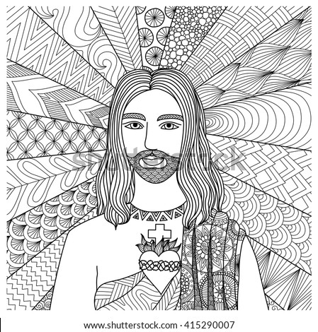 Zentangle stylized of Jesus Christ for coloring book, T- Shirt graphics, cards, illustration and so on - Stock vector