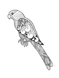 Zentangle stylized parrot. Bird. Black white hand drawn doodle. Ethnic patterned vector illustration. African, indian, totem, tribal design. Sketch for tattoo, poster, print or t-shirt.