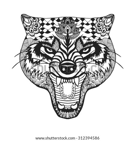 zentangle stylized roaring wolf