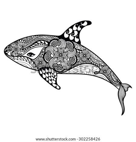 zentangle stylized sea shark