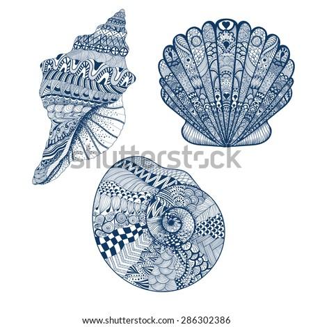 zentangle stylized set blue