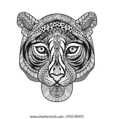 zentangle stylized tiger face