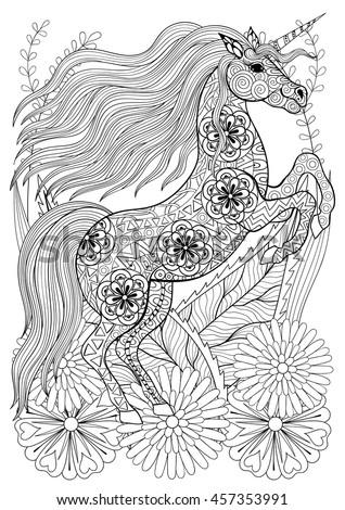 Zentangle Stylized Unicorn With Flowers. Hand Drawn Ethnic ...