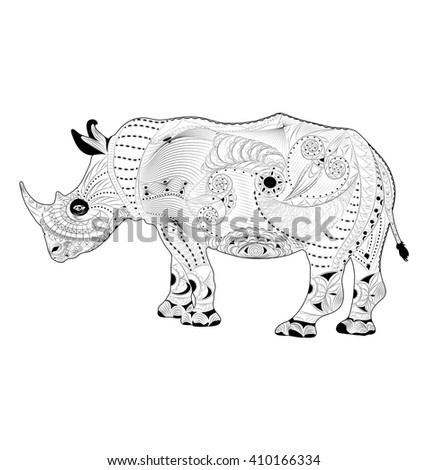Stock Photo Zentangle stylized vector rhino (rhinoceros). Antistress coloring page.