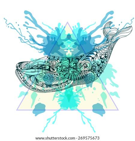 zentangle stylized whale  in
