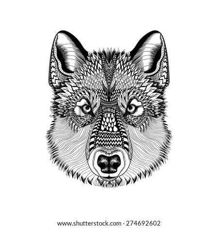 zentangle stylized wolf face