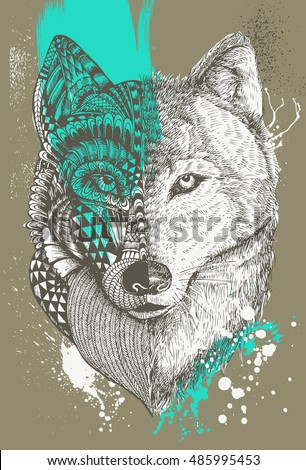 zentangle stylized wolf with