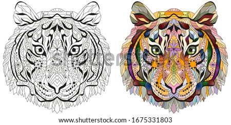 zentangle tiger head hand