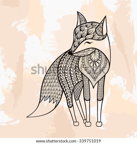 zentangle vector fox  tattoo in