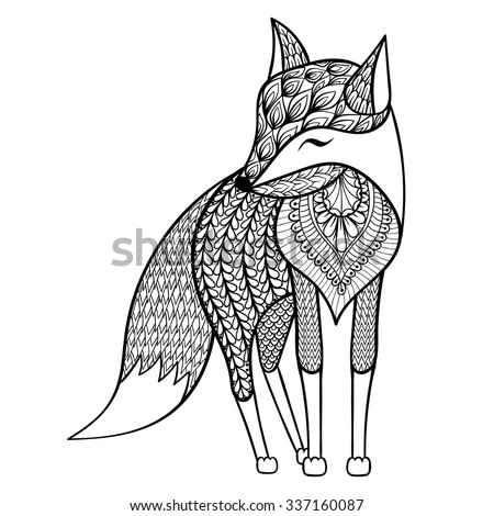 zentangle vector happy fox for
