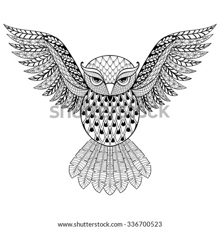 zentangle vector owl for adult...