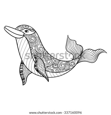 zentangle vector sea dolphin