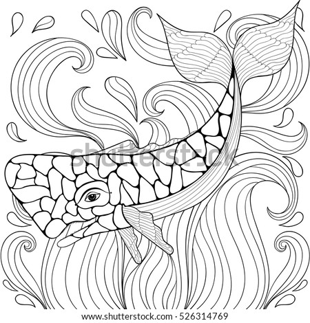 zentangle whale in waves