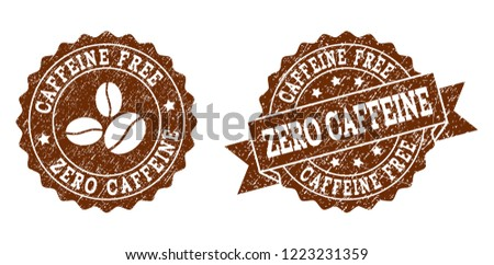 Zero Caffeine rubber stamps. Vector seals in chocolate color with round, ribbon, rosette, coffee bean elements. Grainy design and unclean texture are used for Zero Caffeine rubber imprints.