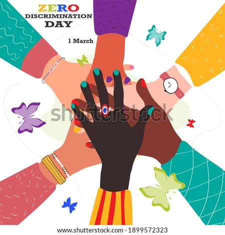 Zero Discrimination Day 1 March. Hands of diverse group of people putting together and different colors of butterflies. Vector stock illustration isolated on white background. Stockfoto ©