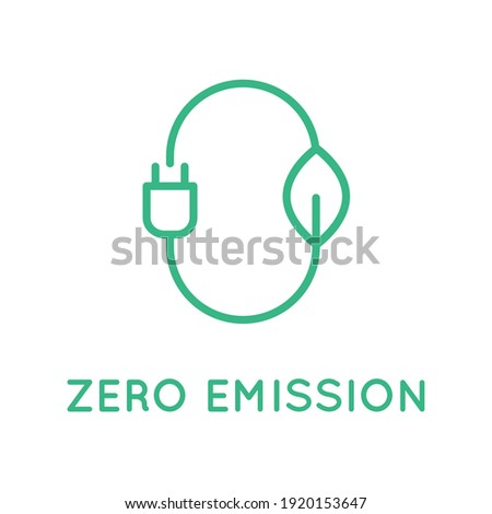Zero emission sign, logo, symbol. Stylized number zero with a leaf and a plug. Sustainable industry and transportation. CO2 neutral concept. Clean energy. Vector illustration, line icon, flat,clip art