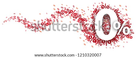 Zero percent with red percents on the white background. Eps 10 vector file.