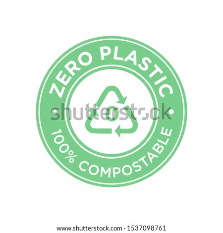 Zero plastic icon. 100% compostable symbol.